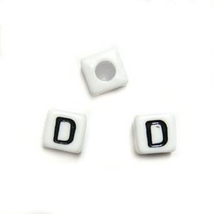 Margele alfabet, plastic alb, cubice 7x7x7mm, litera D 1 buc