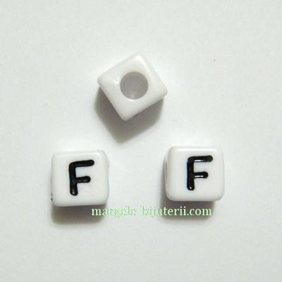 Margele alfabet, plastic alb, cubice 7x7x7mm, litera F 1 buc