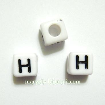 Margele alfabet, plastic alb, cubice 8x8x8mm, litera H 1 buc