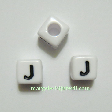 Margele alfabet, plastic alb, cubice 8x8x8mm, litera J 1 buc