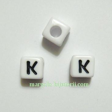 Margele alfabet, plastic alb, cubice 8x8x8mm, litera K 1 buc