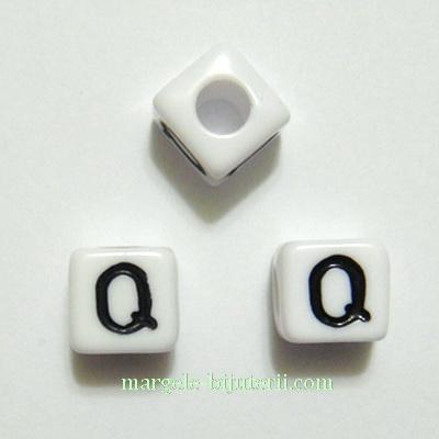 Margele alfabet, plastic alb, cubice 8x8x8mm, litera Q 1 buc