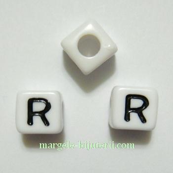 Margele alfabet, plastic alb, cubice 8x8x8mm, litera R 1 buc
