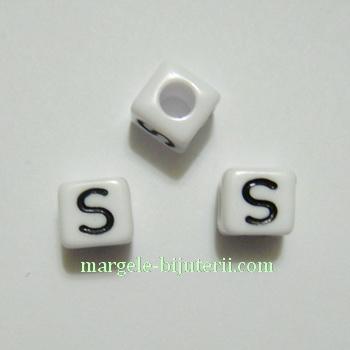 Margele alfabet, plastic alb, cubice 7x7x7mm, litera S 1 buc