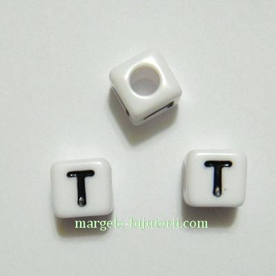 Margele alfabet, plastic alb, cubice 7x7x7mm, litera T 1 buc