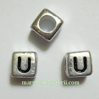 Margele alfabet, plastic argintiu, cubice 6x6x6mm, litera U 1 buc
