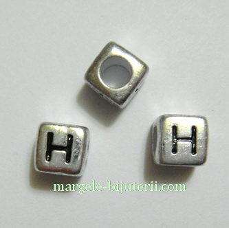 Margele alfabet, plastic argintiu, cubice 6x6x6mm, litera X 1 buc
