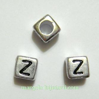 Margele alfabet, plastic argintiu, cubice 6x6x6mm, litera Z 1 buc