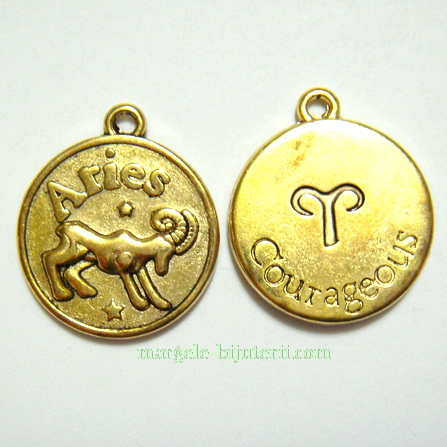 Pandantiv antic auriu, zodiac, BERBEC, 20x17x2mm 1 buc