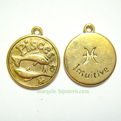 Pandantiv antic auriu, zodiac, PESTI, 20x17x2mm 1 buc