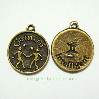 Pandantiv antic, bronz, zodiac, GEMENI, 20x17x2mm 1 buc