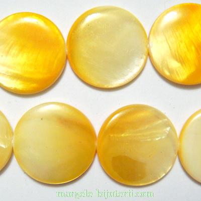 Perle plate, sidef alb cu galben, 20x3mm 1 buc