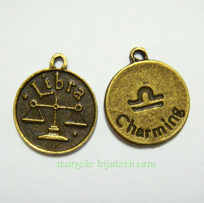 Pandantiv antic, bronz, zodiac, BALANTA , 20x17x2mm 1 buc