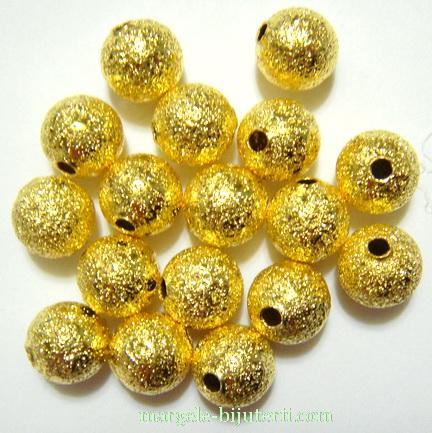 Margele metalice, stardust, aurii, 8mm 1 buc