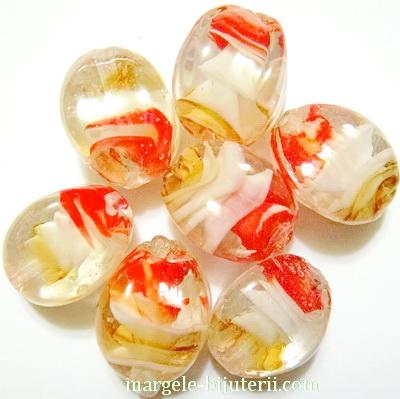 Margele sticla, lampwork, cu interior spirala auriu-alb-rosu, romb 16x13x13mm 1 buc