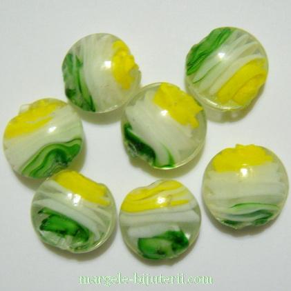 Margele sticla, lampwork, cu interior spirala galben-alb-verde, 20x10mm 1 buc
