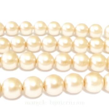 Perle sticla, bej-auriu, 8mm 10 buc