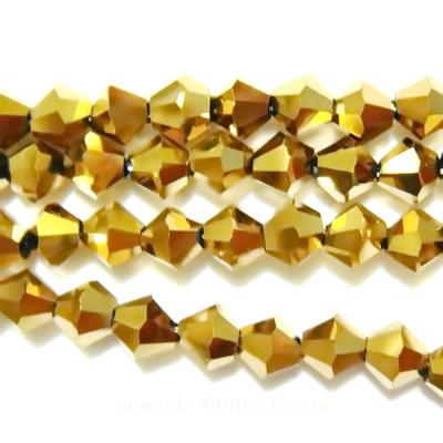 Margele sticla, biconice, aurii, metalizate, 4mm 10 buc