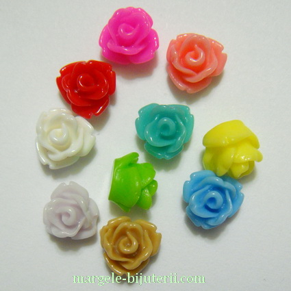 Cabochon rasina, culori mixte, flori 7.5x6mm 10 buc