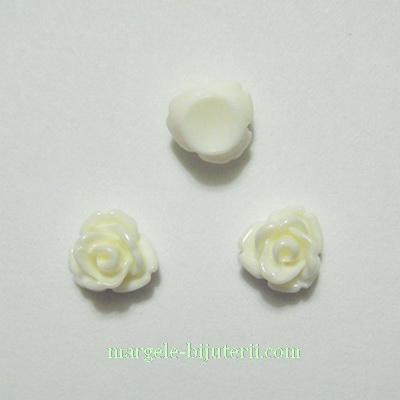 Cabochon rasina,  flori albe 7.5x6mm 1 buc