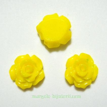 Cabochon rasina, flori galbene, 10x6mm 1 buc