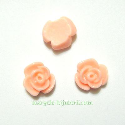 Cabochon rasina, flori roz-somon, 10x6mm 1 buc