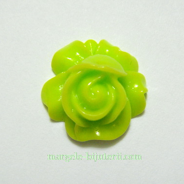 Cabochon rasina, floare verde deschis, 16x9mm 1 buc