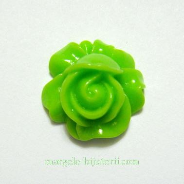Cabochon rasina, floare verde, 16x9mm 1 buc