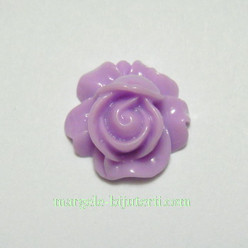 Cabochon rasina, floare violet, 16x9mm 1 buc