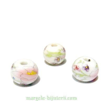Margele portelan, alb cu roz,  12mm 1 buc