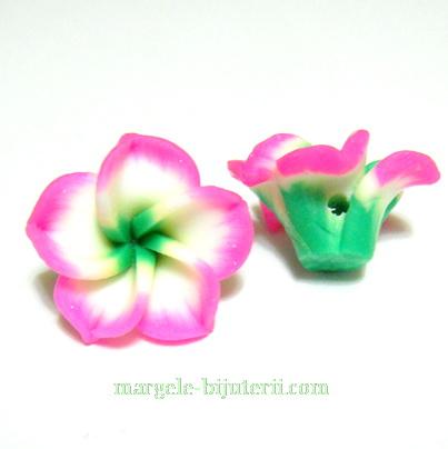 Margele polymer, floare plumeria fucsia cu 5 petale, 15x9mm 1 buc