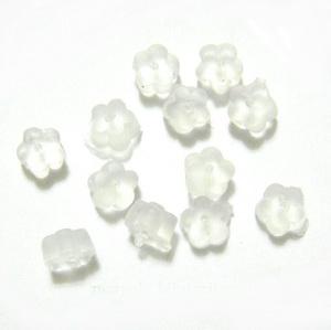 Dop silicon alb, floare 4x2.5mm 10 buc