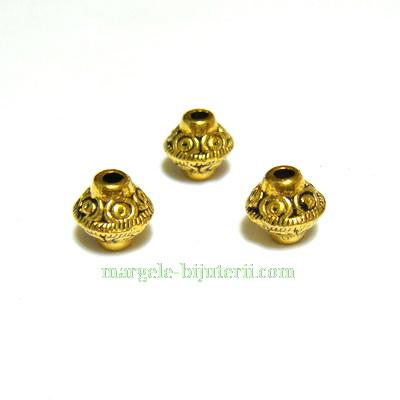 Margele tibetane aurii, biconice, 7x6 mm 1 buc