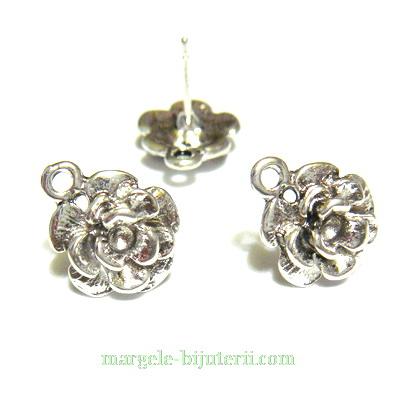Tortite cercei, argint tibetan, trandafir 11mm, tija 11mm 2 buc