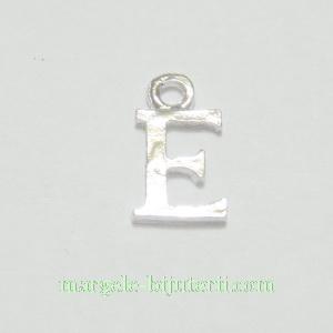 Pandantiv alfabet, argintiu inchis, 12x11x2mm, litera E 1 buc