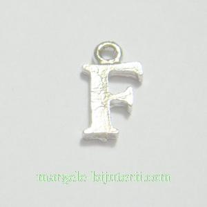 Pandantiv alfabet, argintiu inchis, 12x11x2mm, litera F 1 buc
