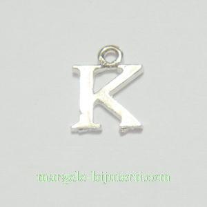 Pandantiv alfabet, argintiu inchis, 12x11x2mm, litera K 1 buc