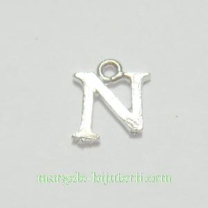 Pandantiv alfabet, argintiu inchis, 12x11x2mm, litera N 1 buc