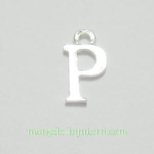 Pandantiv alfabet, argintiu inchis, 12x11x2mm, litera P 1 buc