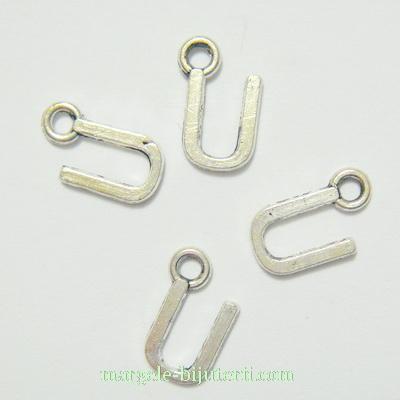 Pandantiv alfabet, argintiu inchis, 12x11x2mm, litera U 1 buc