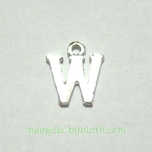 Pandantiv alfabet, argintiu inchis, 12x11x2mm, litera W 1 buc