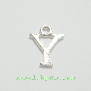 Pandantiv alfabet, argintiu inchis, 12x11x2mm, litera Y 1 buc