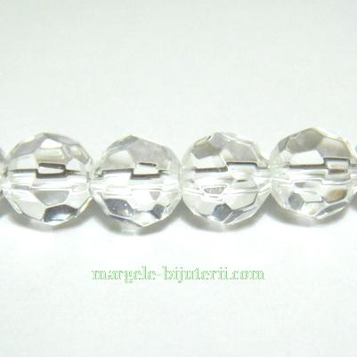 Margele sticla multifete, transparente, 8mm 1 buc