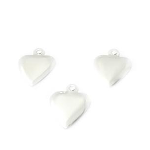 Ornament inima 14mm placat cu argint 1 buc