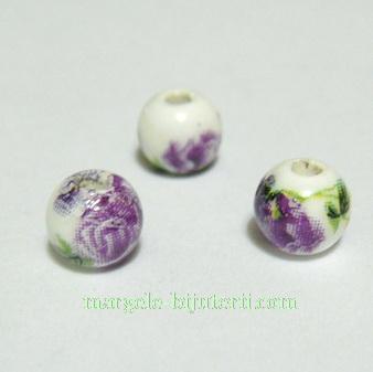 Margele portelan, albe, pictate cu flori mov, 6mm 1 buc