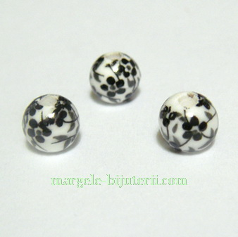 Margele portelan, albe, pictate cu flori negre, 6mm 1 buc