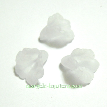 Floari acrilice, frosted, albe, 12x12mm 1 buc