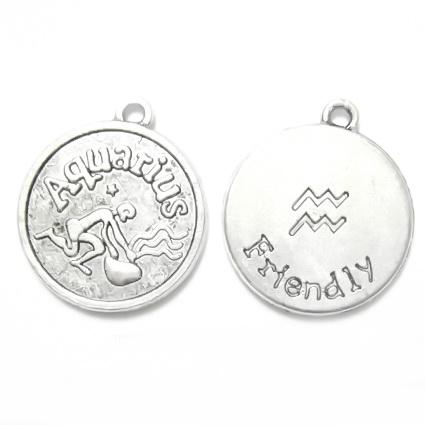 Pandantiv tibetan, zodiac, VARSATOR, 20x17x3mm 1 buc