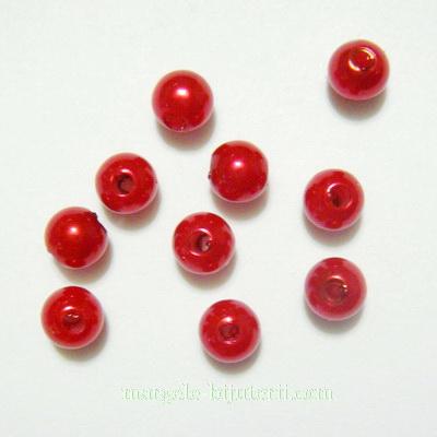 Perle plastic, rosii, 6mm 10 buc