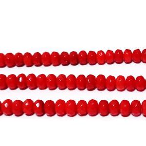 Coral rosu, multifete, rondel, 5x3mm 1 buc